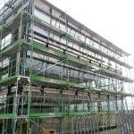 glas seele, Bauphase des Firmengebäudes, Gerüst